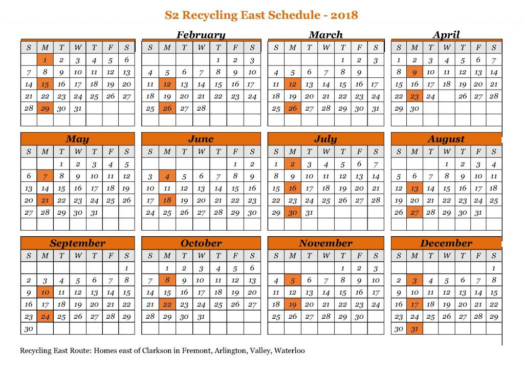 Recycle East route schedule