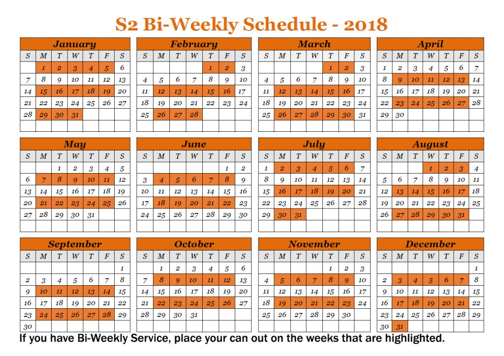 2018 Biweekly schedule for S2 trash pickup