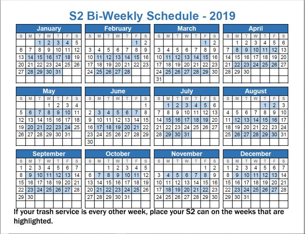 2019 BiWeekly Schedule