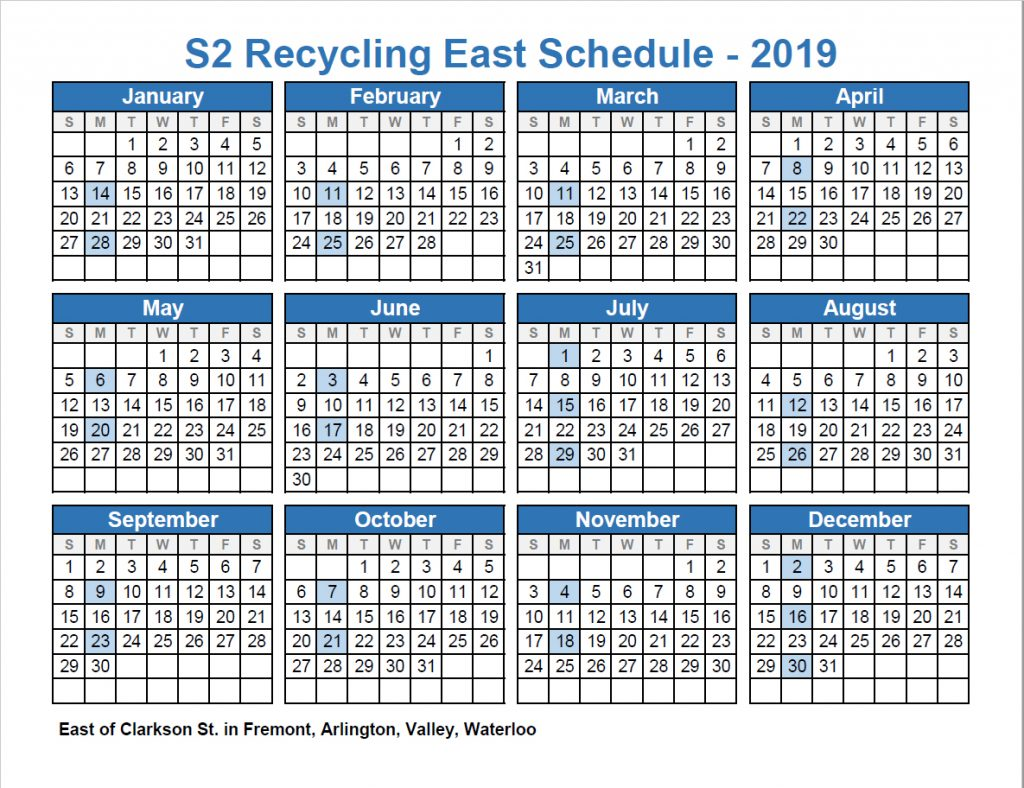 Recycle East 2019 schedule