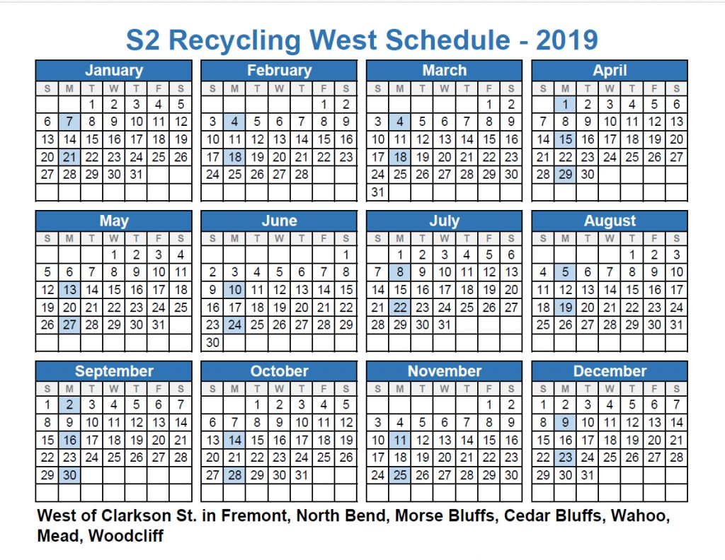 Recycel West Schedule