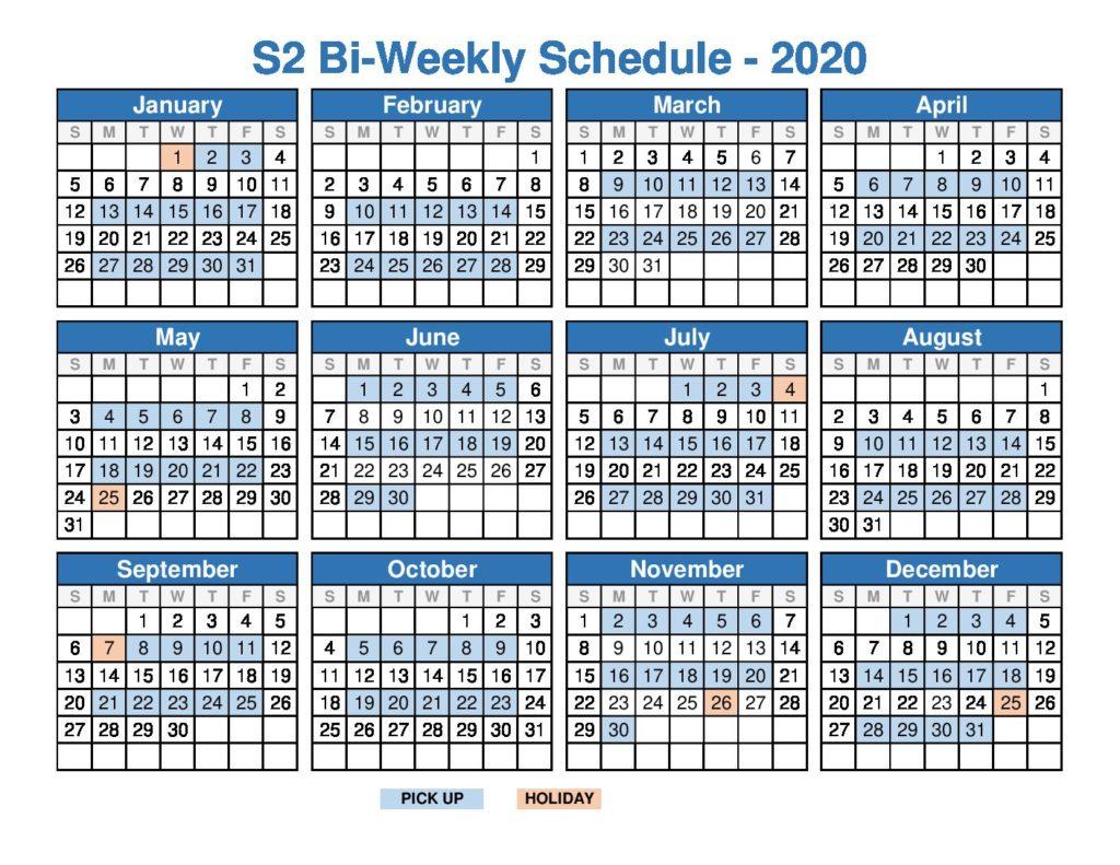 2020 Bi Week Schedule