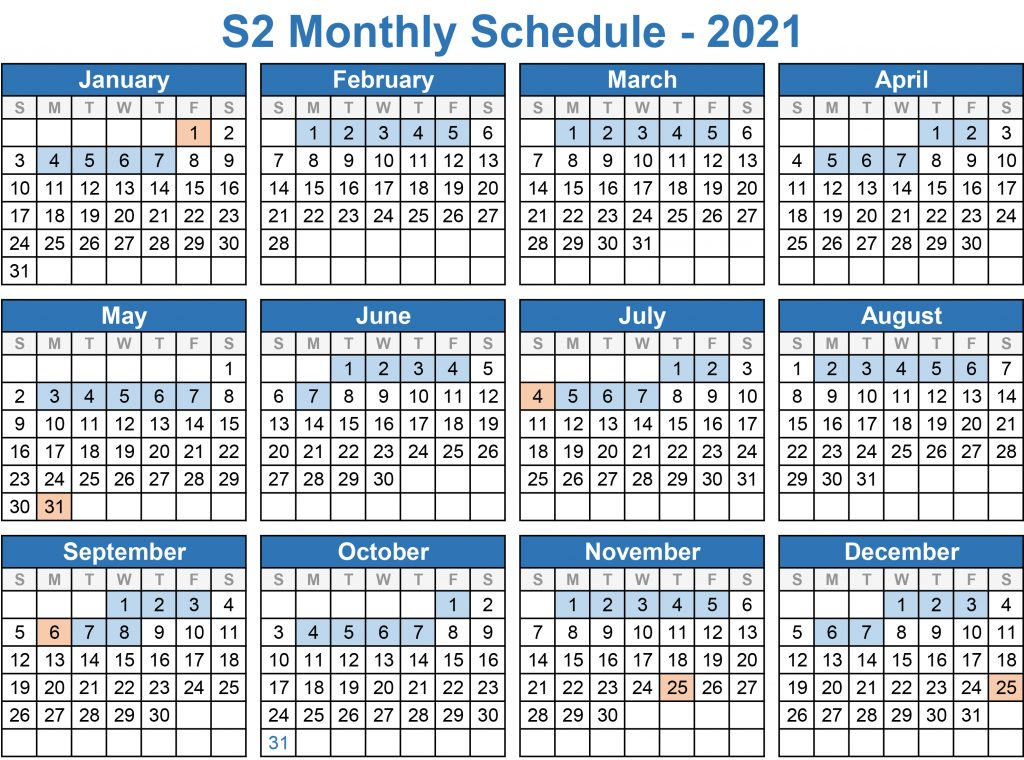 2021 Monthly Schedule