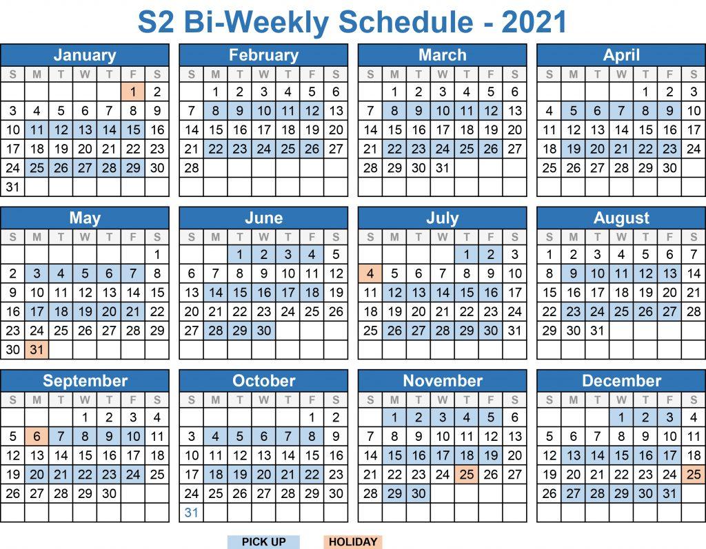2021 BiWeekly Schedule